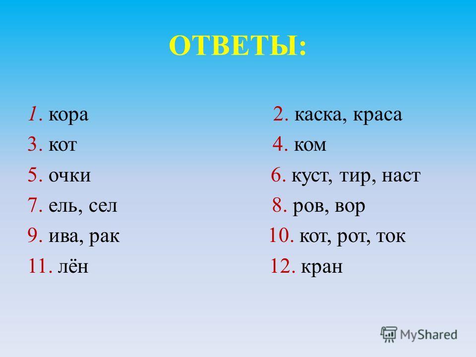ОТВЕТЫ: 1. кора 2. каска, краса 3. кот 4. ком 5. очки 6. куст, тир, наст 7. ель, сел 8. ров, вор 9. ива, рак 10. кот, рот, ток 11. лён 12. кран