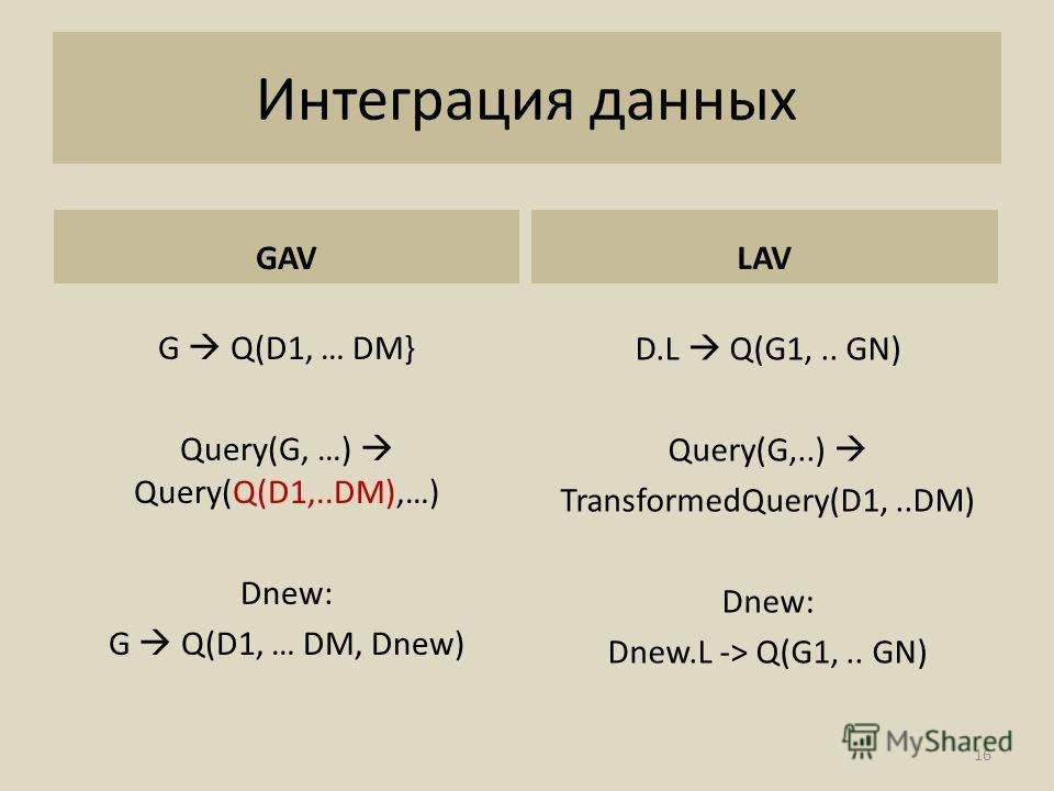 Интеграция данных GAV G Q(D1, … DM} Query(G, …) Query(Q(D1,..DM),…) Dnew: G Q(D1, … DM, Dnew) LAV D.L Q(G1,.. GN) Query(G,..) TransformedQuery(D1,..DM) Dnew: Dnew.L -> Q(G1,.. GN) 16