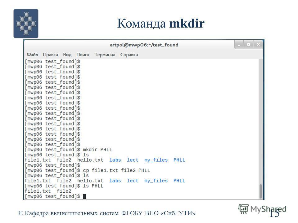 Команда mkdir © Кафедра вычислительных систем ФГОБУ ВПО «СибГУТИ» 15
