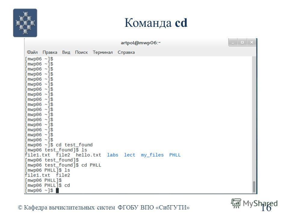 Команда cd © Кафедра вычислительных систем ФГОБУ ВПО «СибГУТИ» 16