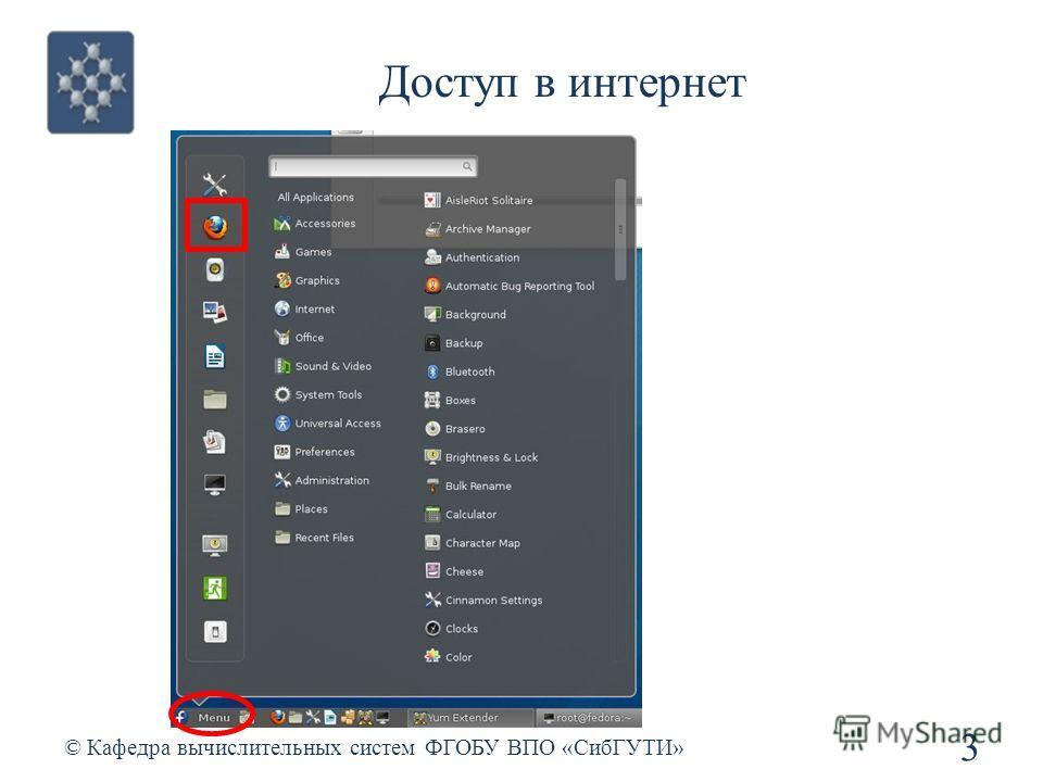 Доступ в интернет © Кафедра вычислительных систем ФГОБУ ВПО «СибГУТИ» 3