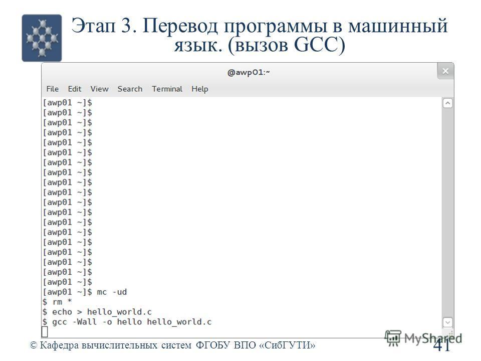 Этап 3. Перевод программы в машинный язык. (вызов GCC) © Кафедра вычислительных систем ФГОБУ ВПО «СибГУТИ» 41
