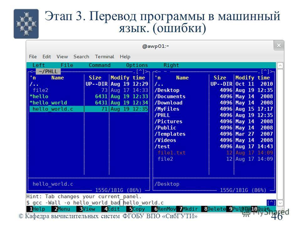 Этап 3. Перевод программы в машинный язык. (ошибки) © Кафедра вычислительных систем ФГОБУ ВПО «СибГУТИ» 46
