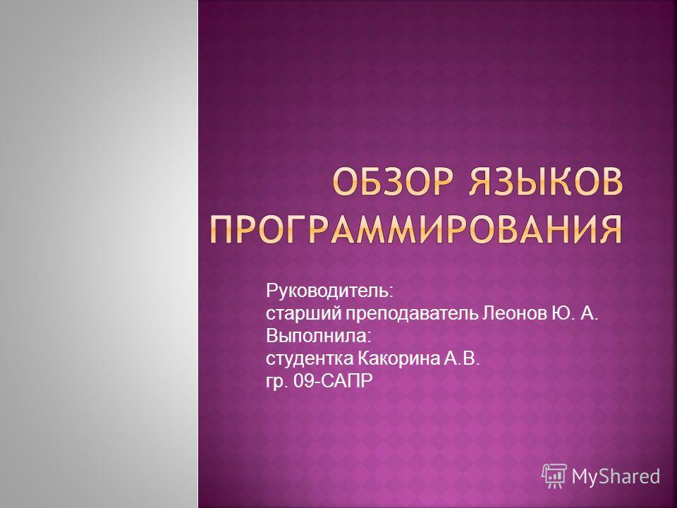 Руководитель: старший преподаватель Леонов Ю. А. Выполнила: студентка Какорина А.В. гр. 09-САПР