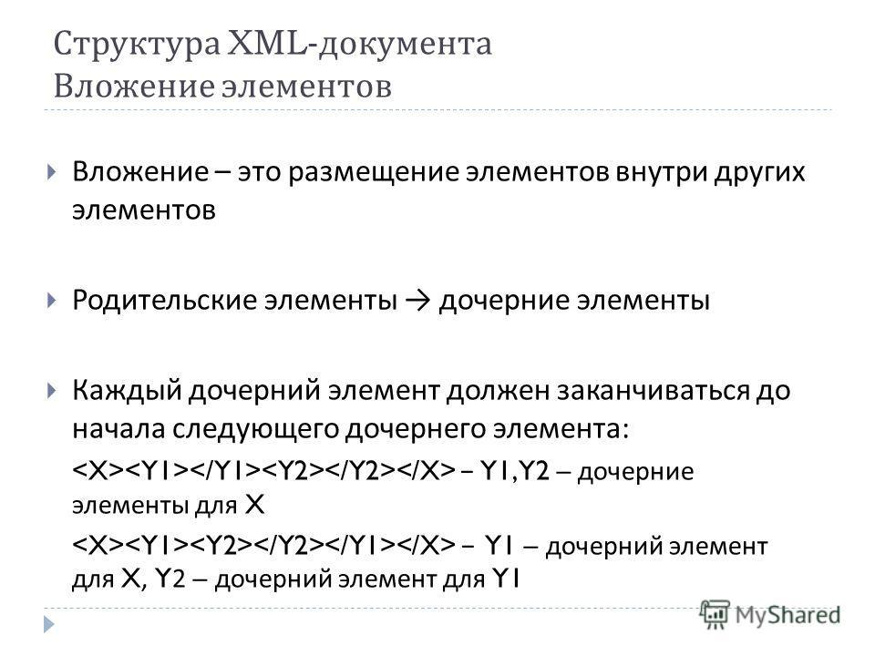 Структура XML- документа Вложение элементов Вложение – это размещение элементов внутри других элементов Родительские элементы дочерние элементы Каждый дочерний элемент должен заканчиваться до начала следующего дочернего элемента : Y1, Y2 – дочерние э