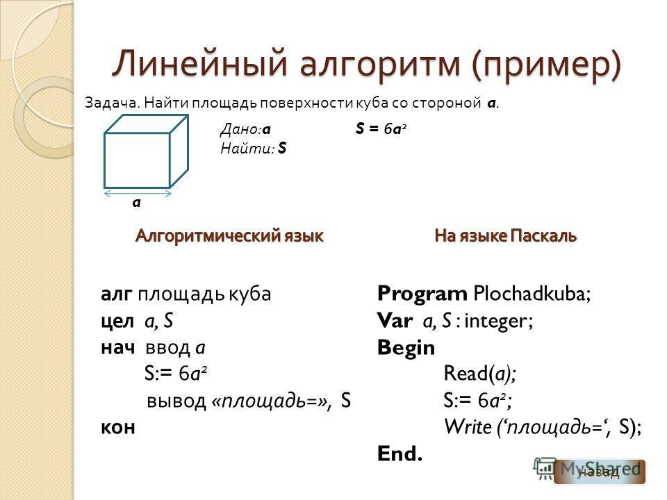 Линейный алгоритм ( пример ) алг площадь куба цел a, S нач ввод a S:= 6a 2 вывод « площадь =», S кон Задача. Найти площадь поверхности куба со стороной a. a Дано :a Найти : S S = 6a 2 назад Program Plochadkuba; Var a, S : integer; Begin Read(a); S:=