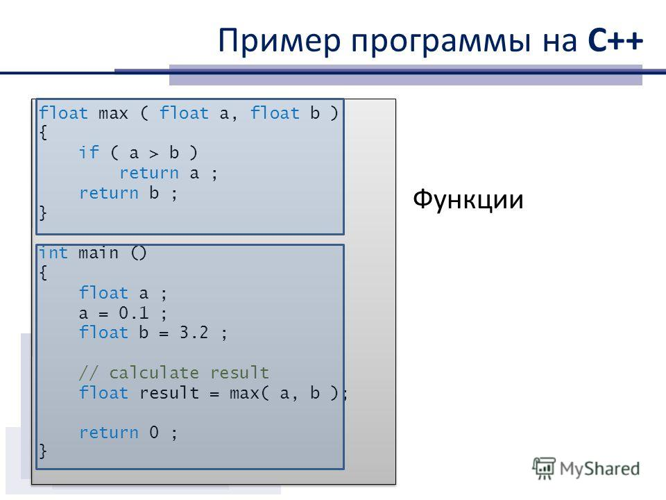 Пример программы на С++ float max ( float a, float b ) { if ( a > b ) return a ; return b ; } int main () { float a ; a = 0.1 ; float b = 3.2 ; // calculate result float result = max( a, b ); return 0 ; } float max ( float a, float b ) { if ( a > b )