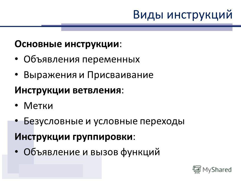 инструкции виды инструкций презентация