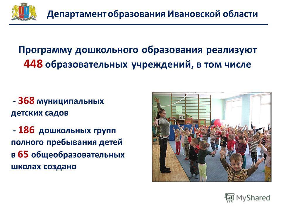 Программу дошкольного образования реализуют 448 образовательных учреждений, в том числе Департамент образования Ивановской области - 368 муниципальных детских садов - 186 дошкольных групп полного пребывания детей в 65 общеобразовательных школах созда