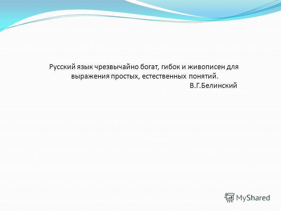 Русский язык чрезвычайно богат, гибок и живописен для выражения простых, естественных понятий. В.Г.Белинский