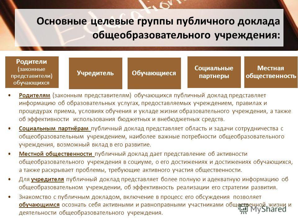 Основные целевые группы публичного доклада общеобразовательного учреждения: Родителям (законным представителям) обучающихся публичный доклад представляет информацию об образовательных услугах, предоставляемых учреждением, правилах и процедурах приема