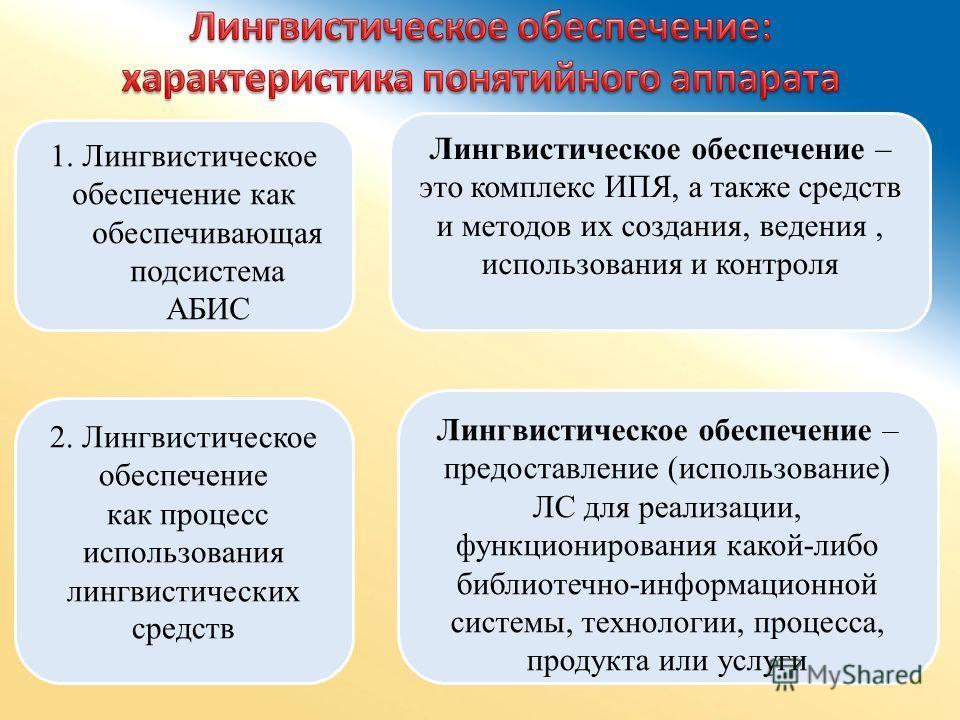 1. Лингвистическое обеспечение как обеспечивающая подсистема АБИС 2. Лингвистическое обеспечение как процесс использования лингвистических средств Лингвистическое обеспечение – это комплекс ИПЯ, а также средств и методов их создания, ведения, использ