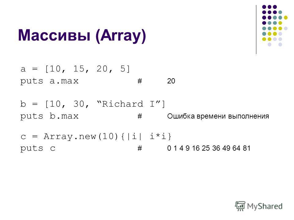Массивы (Array) a = [10, 15, 20, 5] puts a.max #20 b = [10, 30, Richard I] puts b.max #Ошибка времени выполнения c = Array.new(10){|i| i*i} puts c #0 1 4 9 16 25 36 49 64 81