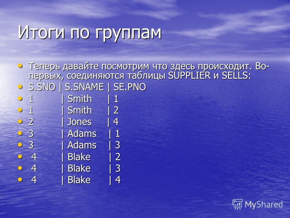 Итоги по группам Теперь давайте посмотрим что здесь происходит. Во- первых, соединяются таблицы SUPPLIER и SELLS: Теперь давайте посмотрим что здесь происходит. Во- первых, соединяются таблицы SUPPLIER и SELLS: S.SNO | S.SNAME | SE.PNO S.SNO | S.SNAM