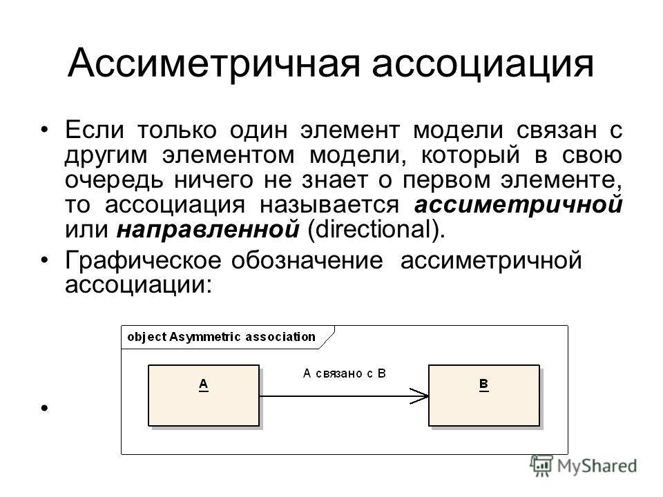 Ассиметричная ассоциация Если только один элемент модели связан с другим элементом модели, который в свою очередь ничего не знает о первом элементе, то ассоциация называется ассиметричной или направленной (directional). Графическое обозначение ассиме