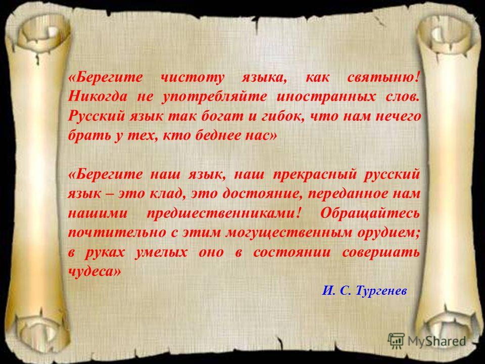 «Берегите чистоту языка, как святыню! Никогда не употребляйте иностранных слов. Русский язык так богат и гибок, что нам нечего брать у тех, кто беднее нас» «Берегите наш язык, наш прекрасный русский язык – это клад, это достояние, переданное нам наши