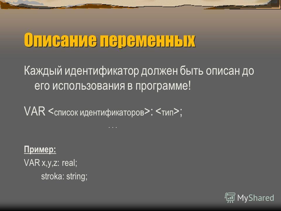 Описание переменных Каждый идентификатор должен быть описан до его использования в программе! VAR : ;... Пример: VAR x,y,z: real; stroka: string;