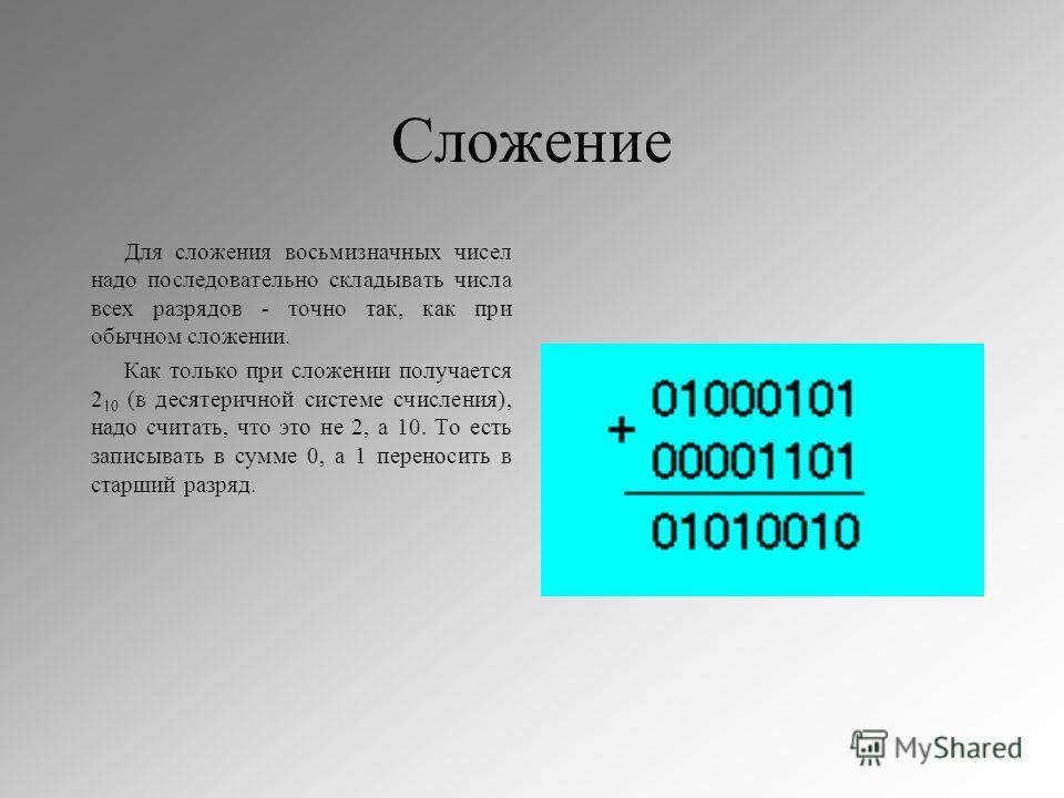 Сложение Для сложения восьмизначных чисел надо последовательно складывать числа всех разрядов - точно так, как при обычном сложении. Как только при сложении получается 2 10 (в десятеричной системе счисления), надо считать, что это не 2, а 10. То есть