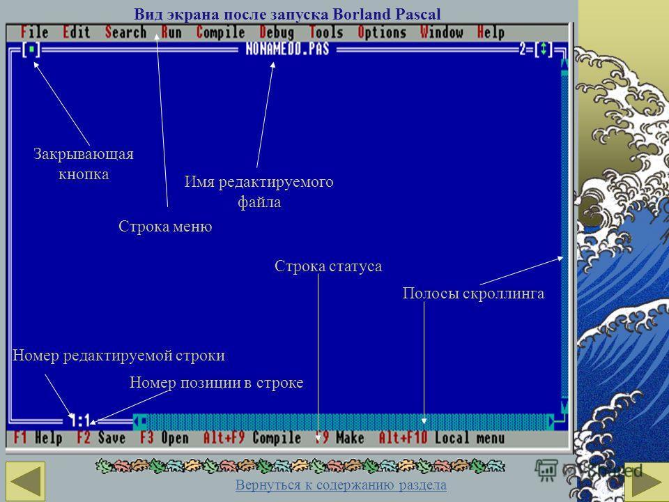 Вид экрана после запуска Borland Pascal Закрывающая кнопка Строка меню Имя редактируемого файла Полосы скроллинга Номер редактируемой строки Номер позиции в строке Строка статуса Вернуться к содержанию раздела