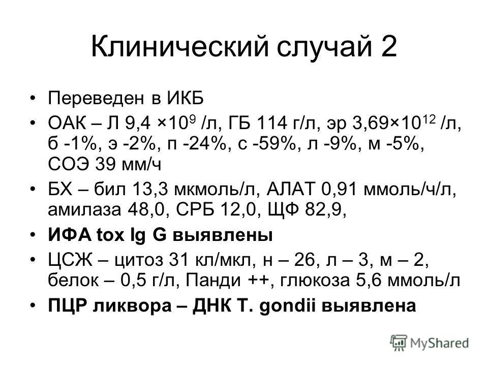 Клинический случай 2 Переведен в ИКБ ОАК – Л 9,4 ×10 9 /л, ГБ 114 г/л, эр 3,69×10 12 /л, б -1%, э -2%, п -24%, с -59%, л -9%, м -5%, СОЭ 39 мм/ч БХ – бил 13,3 мкмоль/л, АЛАТ 0,91 ммоль/ч/л, амилаза 48,0, СРБ 12,0, ЩФ 82,9, ИФА tox Ig G выявлены ЦСЖ –