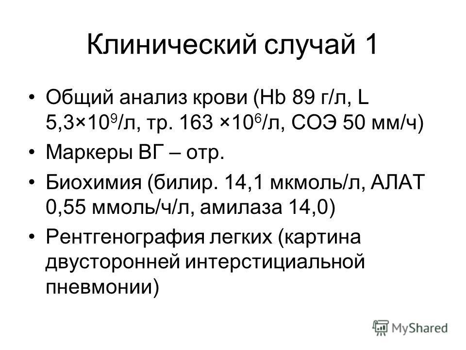 Клинический случай 1 Общий анализ крови (Hb 89 г/л, L 5,3×10 9 /л, тр. 163 ×10 6 /л, СОЭ 50 мм/ч) Маркеры ВГ – отр. Биохимия (билир. 14,1 мкмоль/л, АЛАТ 0,55 ммоль/ч/л, амилаза 14,0) Рентгенография легких (картина двусторонней интерстициальной пневмо