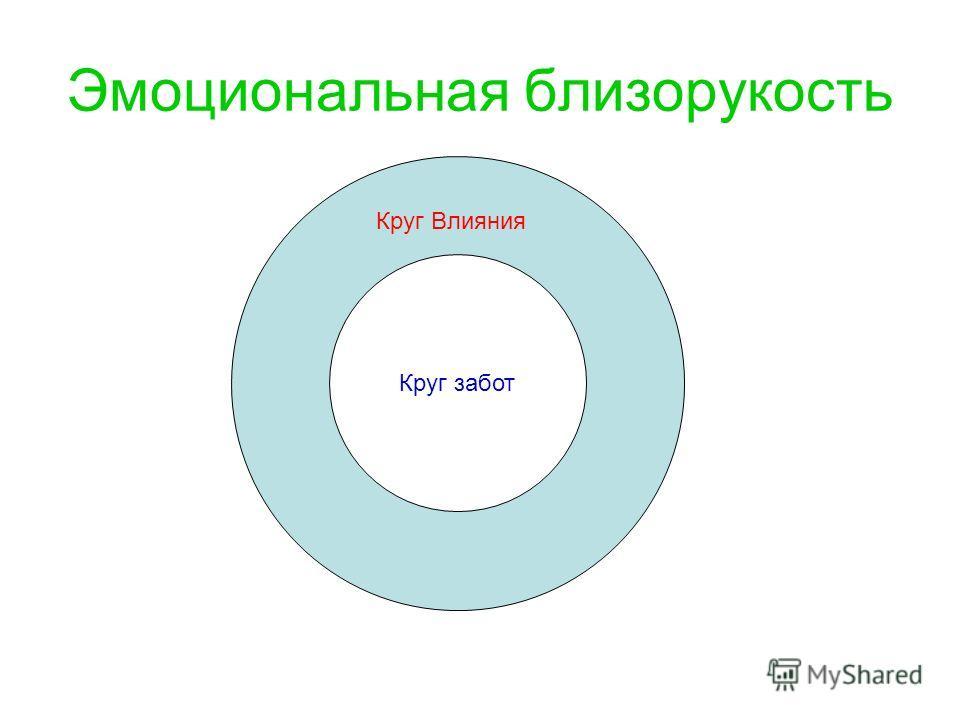 Круг Круг забот Круг Влияния Эмоциональная близорукость
