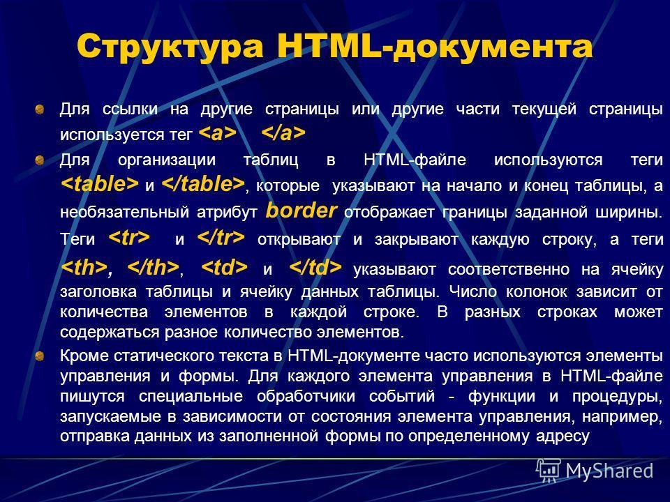 Структура HTML-документа Для ссылки на другие страницы или другие части текущей страницы используется тег Для организации таблиц в HTML-файле используются теги и, которые указывают на начало и конец таблицы, а необязательный атрибут border отображает