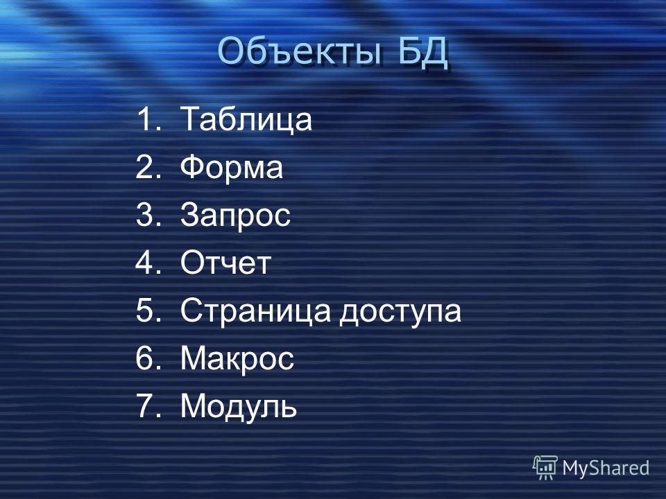 Объекты БД 1.Таблица 2.Форма 3.Запрос 4.Отчет 5.Страница доступа 6.Макрос 7.Модуль