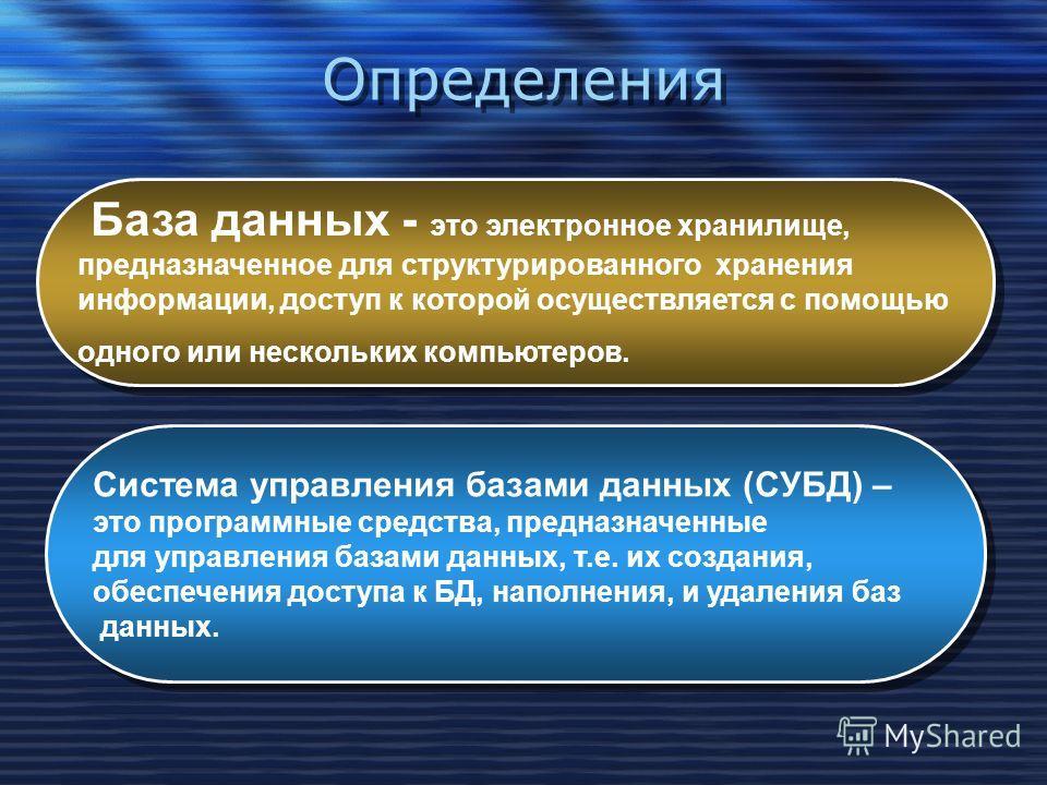 Определения База данных - это электронное хранилище, предназначенное для структурированного хранения информации, доступ к которой осуществляется с помощью одного или нескольких компьютеров. База данных - это электронное хранилище, предназначенное для