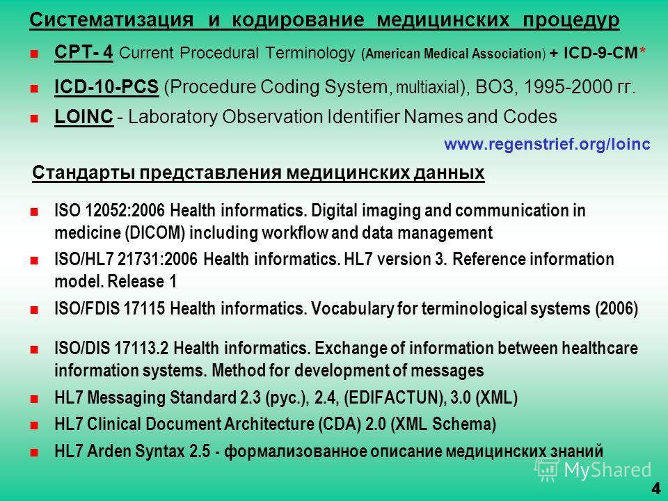 Систематизация и кодирование медицинских процедур CPT- 4 Current Procedural Terminology (American Medical Association ) + ICD-9-CM * ICD-10-PCS (Procedure Coding System, multiaxial ), ВОЗ, 1995-2000 гг. LOINC - Laboratory Observation Identifier Names