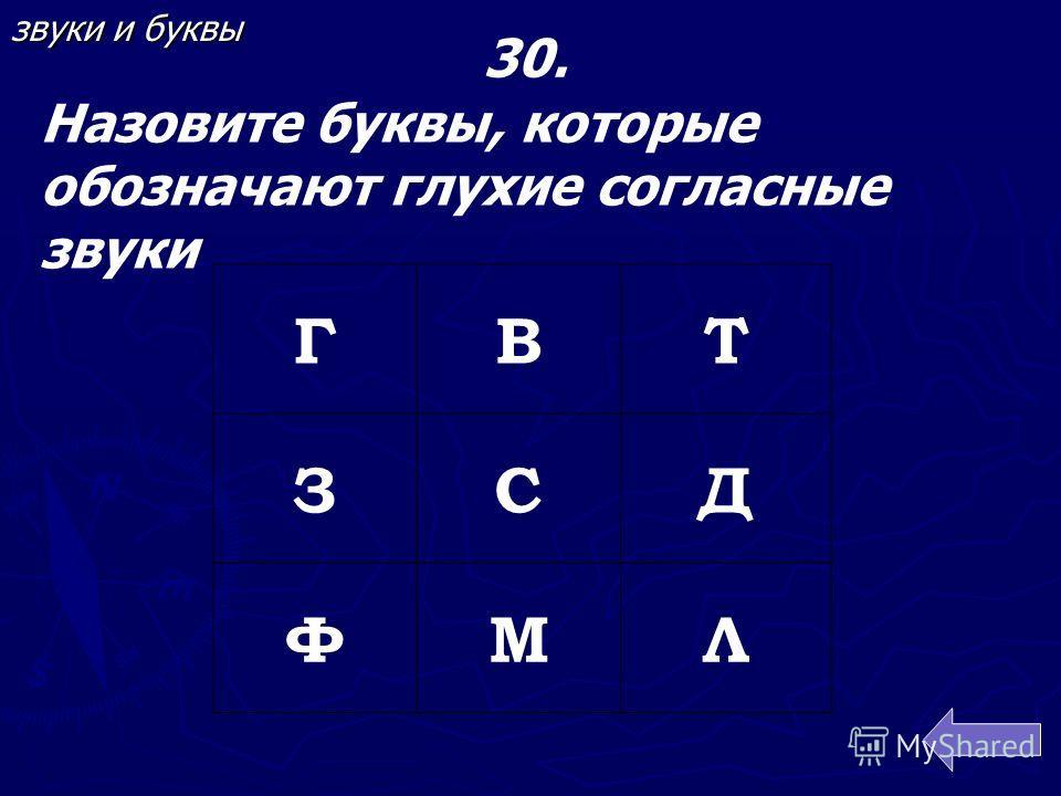 ГВТ ЗСД ФМЛ 30. Назовите буквы, которые обозначают глухие согласные звуки звуки и буквы