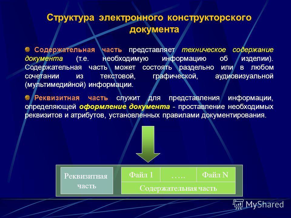 Структура электронного конструкторского документа Файл N Реквизитная часть Файл 1 ….. Содержательная часть Содержательная часть представляет техническое содержание документа (т.е. необходимую информацию об изделии). Содержательная часть может состоят