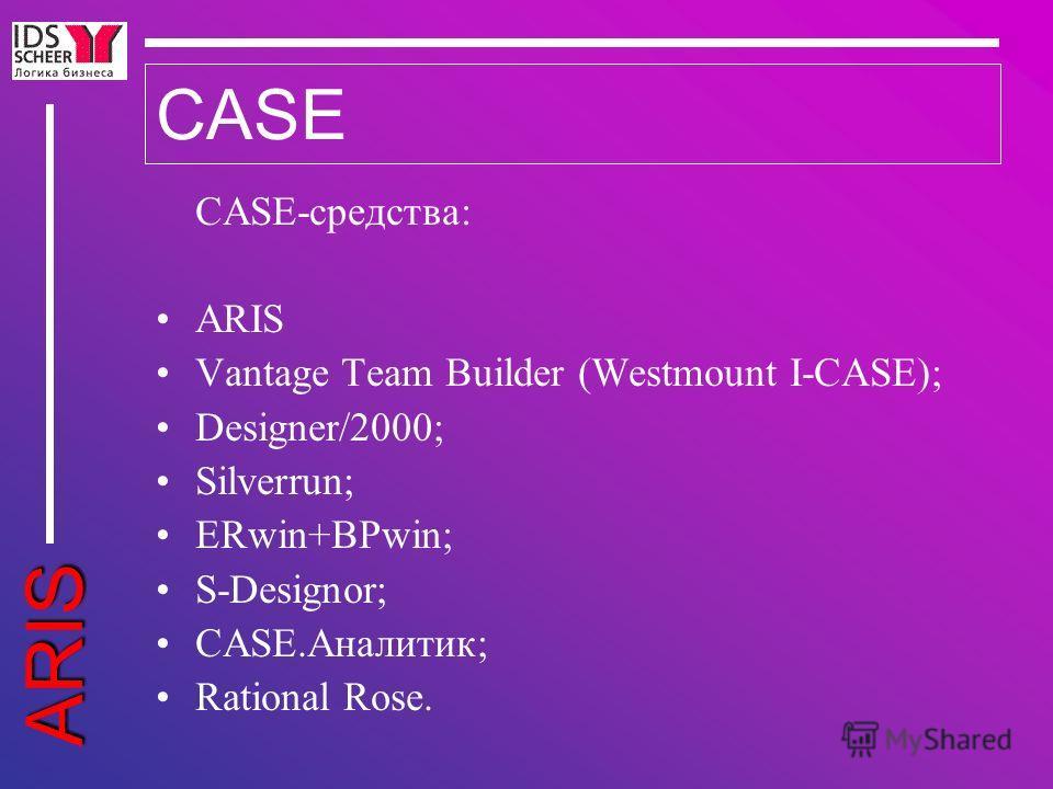 ARIS CASE CASE-средства: ARIS Vantage Team Builder (Westmount I-CASE); Designer/2000; Silverrun; ERwin+BPwin; S-Designor; CASE.Аналитик; Rational Rose.