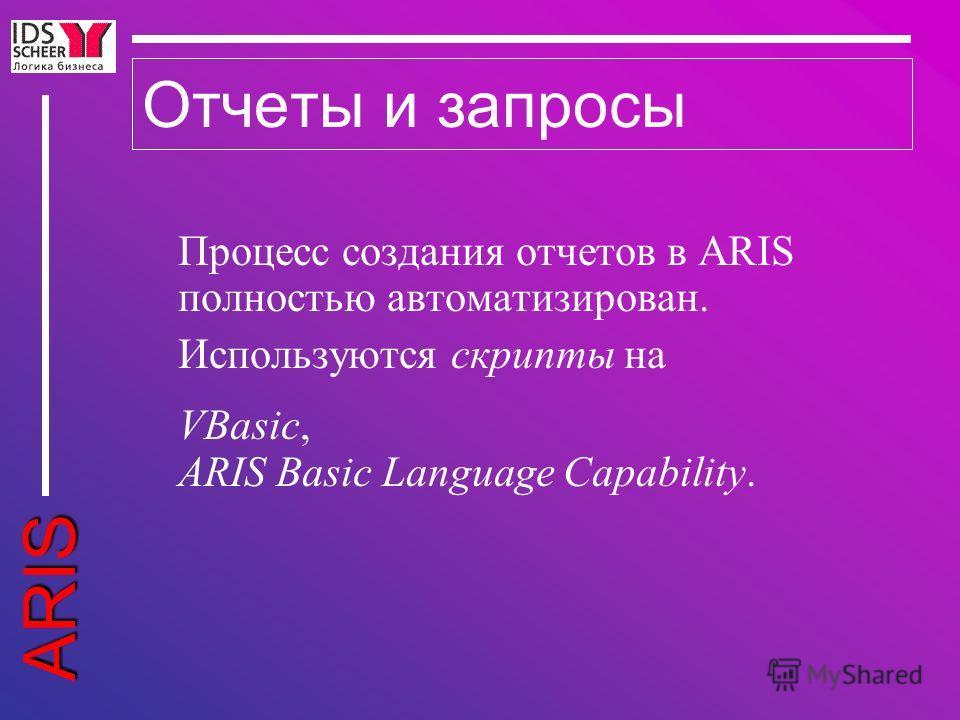 ARIS Отчеты и запросы Процесс создания отчетов в ARIS полностью автоматизирован. Используются скрипты на VBasic, ARIS Basic Language Capability.