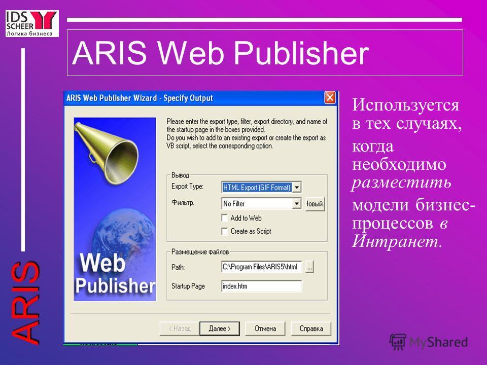 ARIS ARIS Web Publisher Используется в тех случаях, когда необходимо разместить модели бизнес- процессов в Интранет.