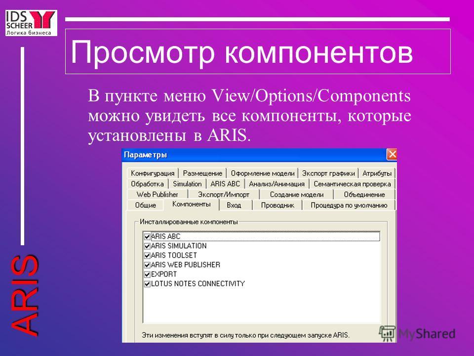 ARIS Просмотр компонентов В пункте меню View/Options/Components можно увидеть все компоненты, которые установлены в ARIS.