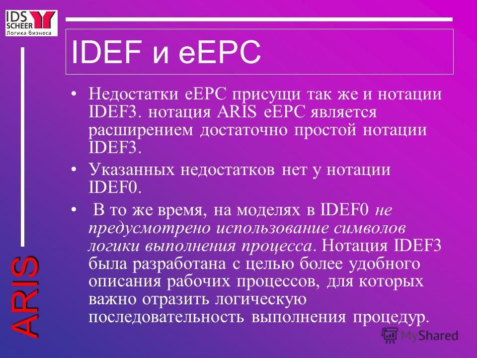 ARIS IDEF и eEPC Недостатки eEPC присущи так же и нотации IDEF3. нотация ARIS eEPC является расширением достаточно простой нотации IDEF3. Указанных недостатков нет у нотации IDEF0. В то же время, на моделях в IDEF0 не предусмотрено использование симв
