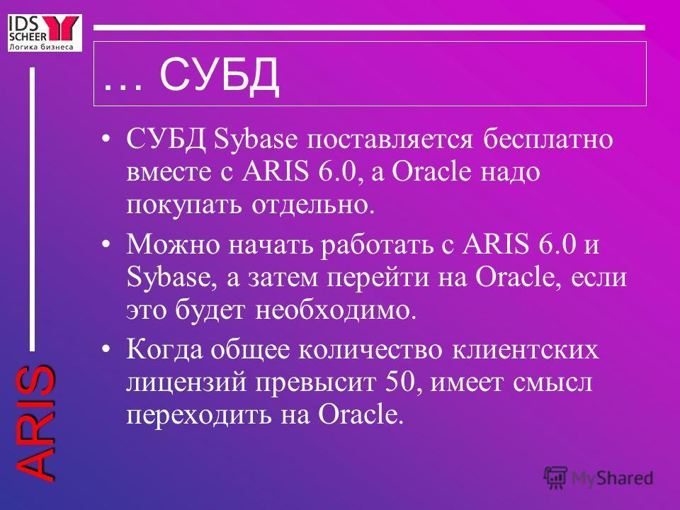ARIS … СУБД СУБД Sybase поставляется бесплатно вместе с ARIS 6.0, а Oracle надо покупать отдельно. Можно начать работать с ARIS 6.0 и Sybase, а затем перейти на Oracle, если это будет необходимо. Когда общее количество клиентских лицензий превысит 50