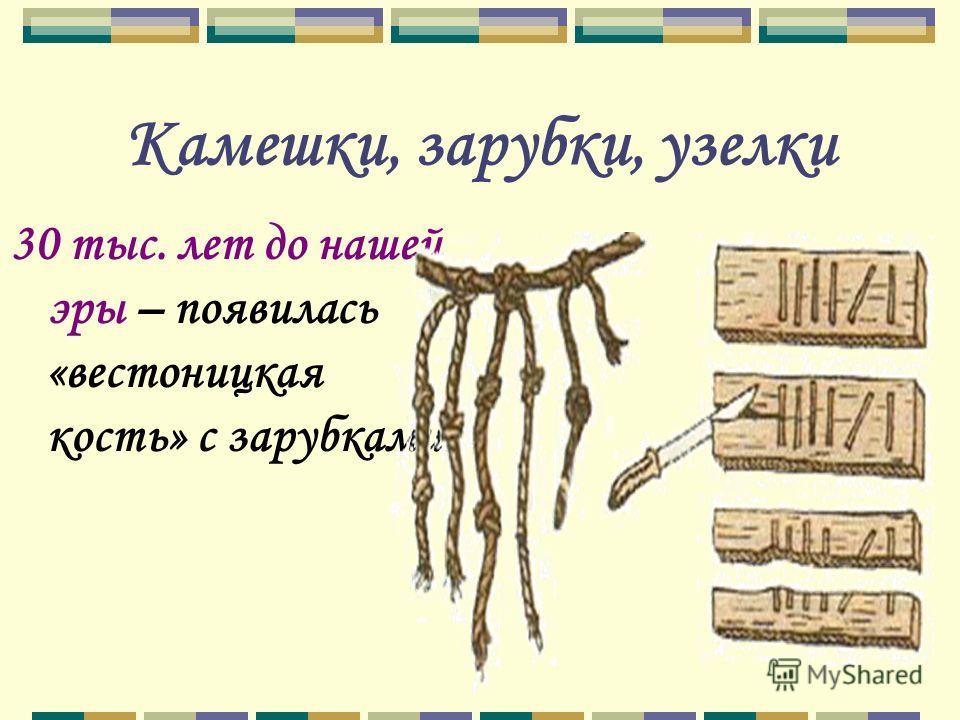 Камешки, зарубки, узелки 30 тыс. лет до нашей эры – появилась «вестоницкая кость» с зарубками.