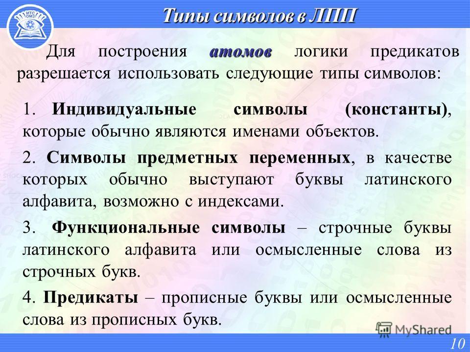 1.Индивидуальные символы (константы), которые обычно являются именами объектов. 2. Символы предметных переменных, в качестве которых обычно выступают буквы латинского алфавита, возможно с индексами. 3.Функциональные символы – строчные буквы латинског