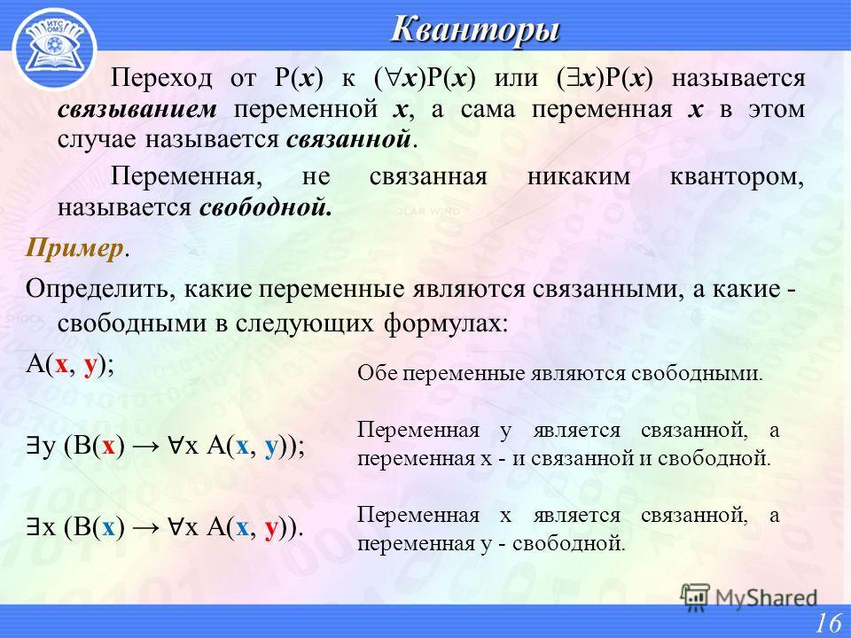 Переход от P(x) к ( x)P(x) или ( x)P(x) называется связыванием переменной x, а сама переменная x в этом случае называется связанной. Переменная, не связанная никаким квантором, называется свободной. Пример. Определить, какие переменные являются связа