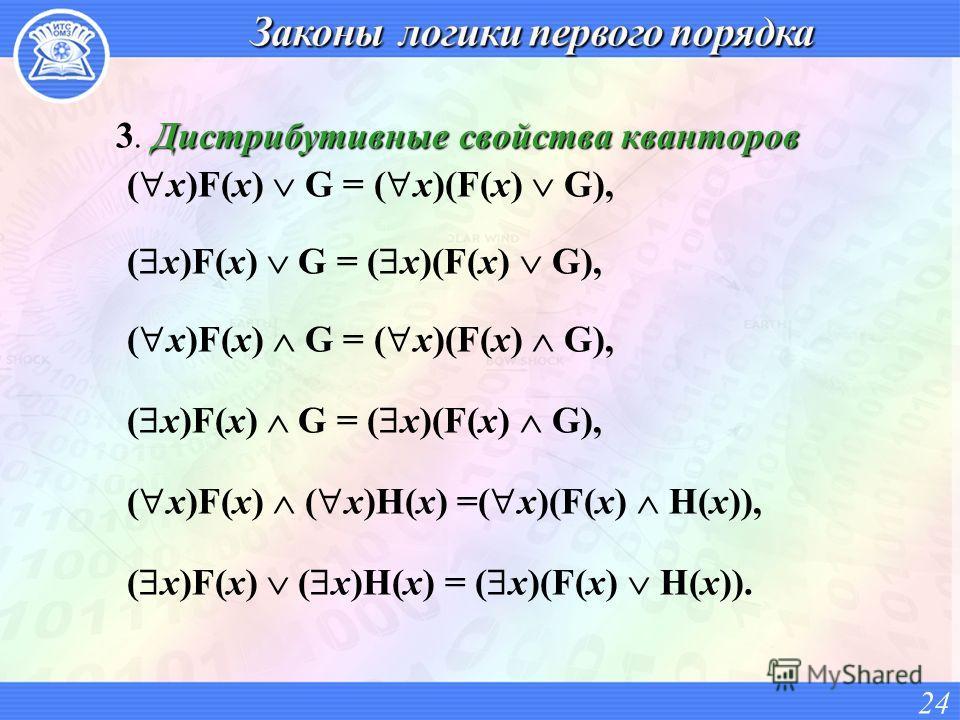 Дистрибутивные свойства кванторов 3. Дистрибутивные свойства кванторов ( x)F(x) G = ( x)(F(x) G), ( x)F(x) ( x)H(x) =( x)(F(x) H(x)), ( x)F(x) ( x)H(x) = ( x)(F(x) H(x)). 24