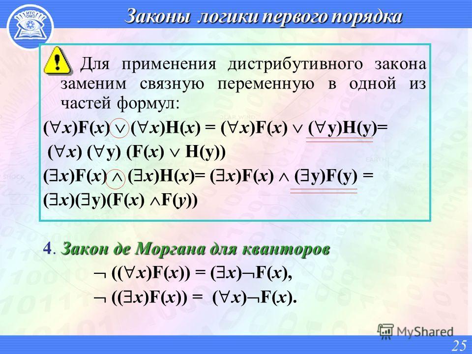 Для применения дистрибутивного закона заменим связную переменную в одной из частей формул: ( x)F(x) ( x)H(x) = ( x)F(x) ( y)H(y)= ( x) ( y) (F(x) H(y)) ( x)F(x) ( x)H(x)= ( x)F(x) ( y)F(y) = ( x)( y)(F(x) F(y)) Закон де Моргана для кванторов 4. Закон