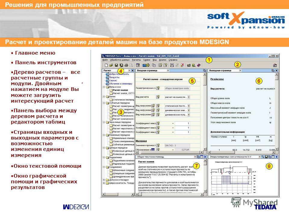 Решения для промышленных предприятий Расчет и проектирование деталей машин на базе продуктов MDESIGN Benutzersystem Software- Funktionalität MDESIGN обеспечивает идентичный интерфейс для каждого программного модуля, работы с документацией, базами дан