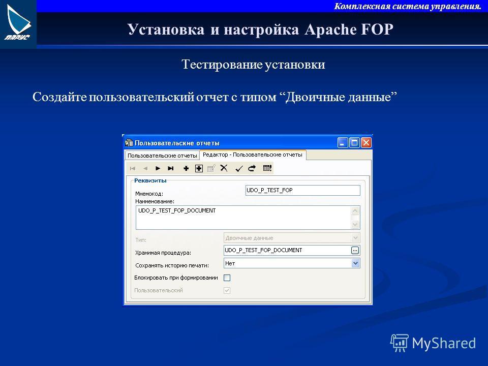 Комплексная система управления. Установка и настройка Apache FOP Тестирование установки Создайте пользовательский отчет с типом Двоичные данные