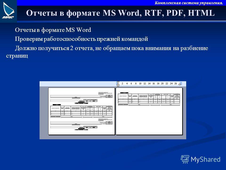 Комплексная система управления. Отчеты в формате MS Word, RTF, PDF, HTML Отчеты в формате MS Word Проверим работоспособность прежней командой Должно получиться 2 отчета, не обращаем пока внимания на разбиение страниц