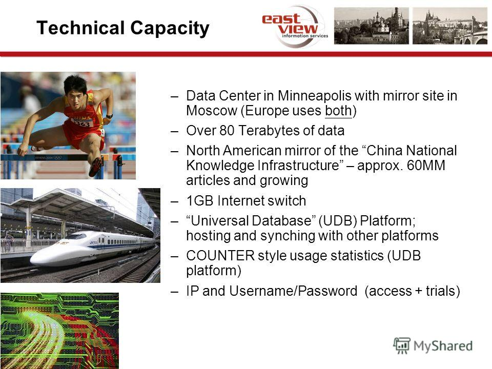 Technical Capacity –Data Center in Minneapolis with mirror site in Moscow (Europe uses both) –Over 80 Terabytes of data –North American mirror of the China National Knowledge Infrastructure – approx. 60MM articles and growing –1GB Internet switch –Un