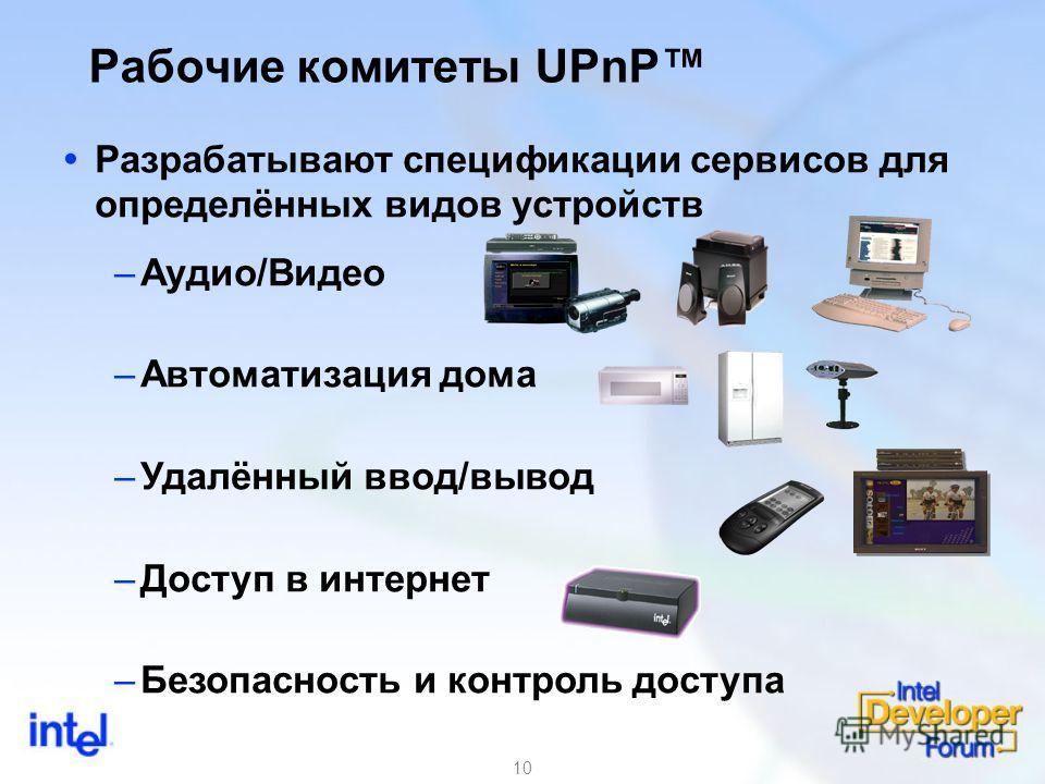 10 Разрабатывают спецификации сервисов для определённых видов устройств –Аудио/Видео –Автоматизация дома –Удалённый ввод/вывод –Доступ в интернет –Безопасность и контроль доступа Рабочие комитеты UPnP