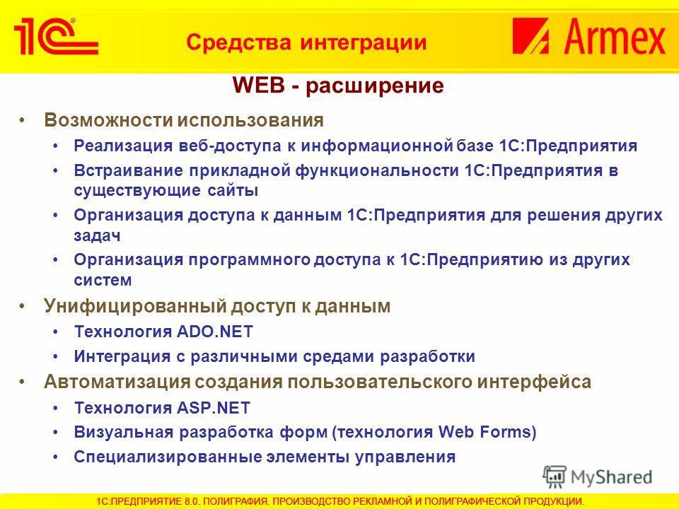 Возможности использования Реализация веб-доступа к информационной базе 1С:Предприятия Встраивание прикладной функциональности 1С:Предприятия в существующие сайты Организация доступа к данным 1С:Предприятия для решения других задач Организация програм
