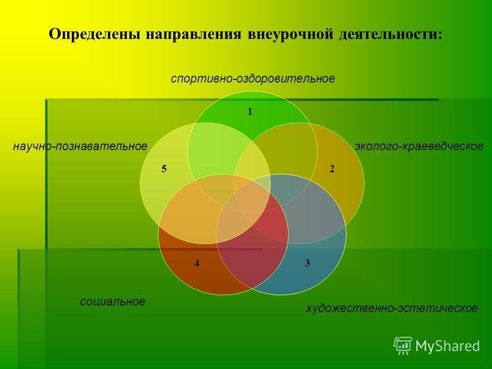 Определены направления внеурочной деятельности: 2 5 3 1 4